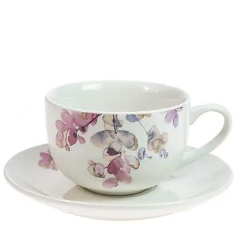 purple floral cup and saucer