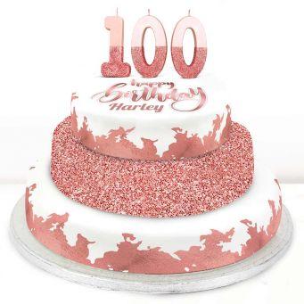 100th Birthday Rose Foil Cake