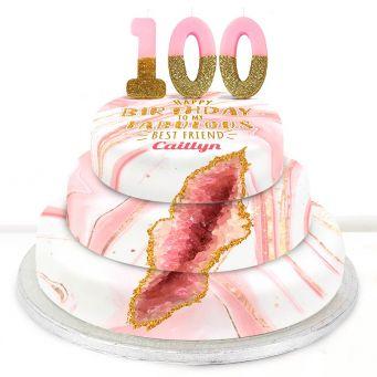 100th Birthday Pink Foil Cake