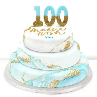 100th Birthday Blue Foil Cake