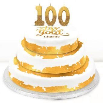 100th Birthday Gold Foil Cake