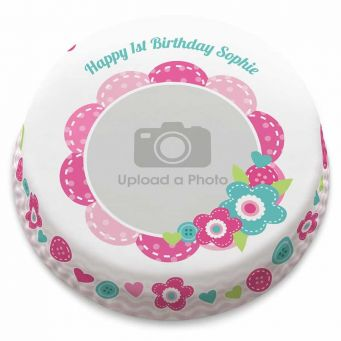 Birthday Flower Photo Cake