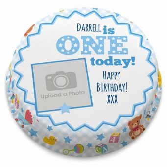 Blue 1st Birthday Cake