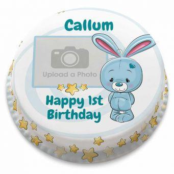 Blue Bunny Photo Cake