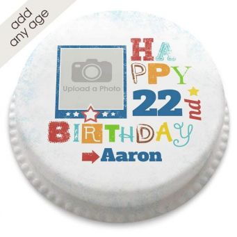 Any Age Birthday Photo Cake