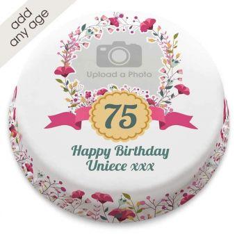 Any Age Poppies Photo Cake