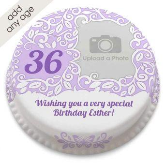 Any Age Lace Photo Cake