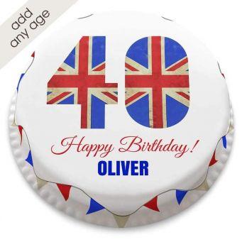 Any Age Union Jack Number Cake