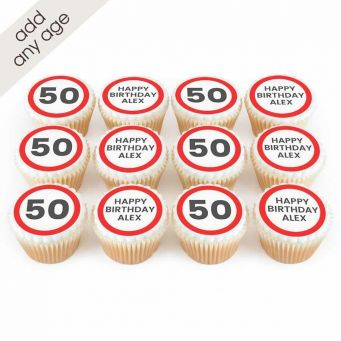 12 Signpost Number Cupcakes