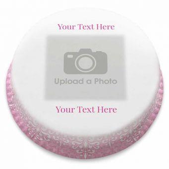 Pink Lace Photo Cake
