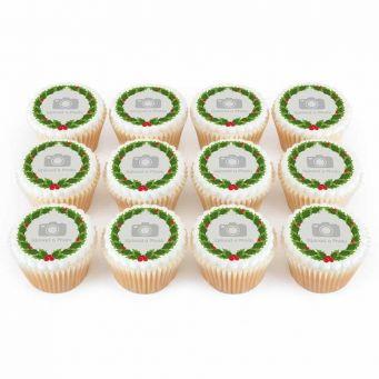 12 Wreath Photo Cupcakes