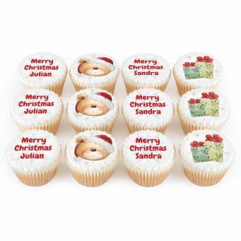 12 Christmas Ted Cupcakes