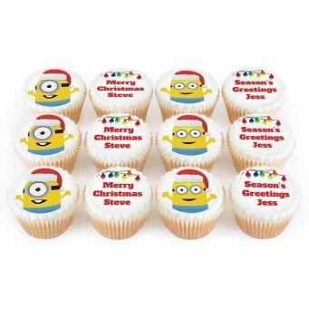 12 Christmas Minion Cupcakes