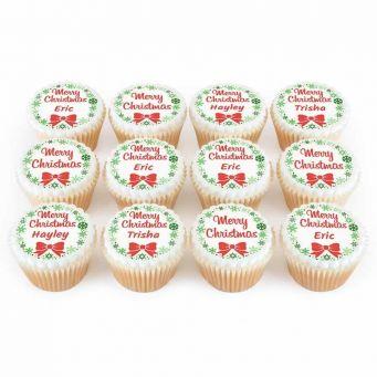 12 Christmas Bow Cupcakes