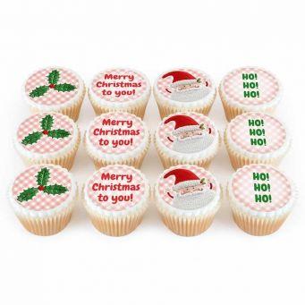 12 Santa & Rudolph Cupcakes