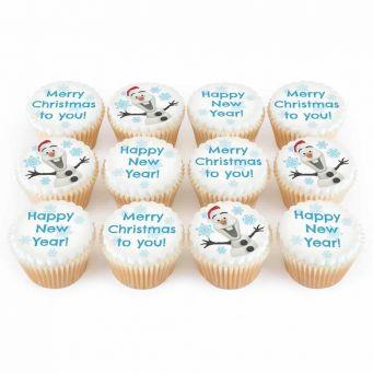 12 Christmas Snowmen Cupcakes