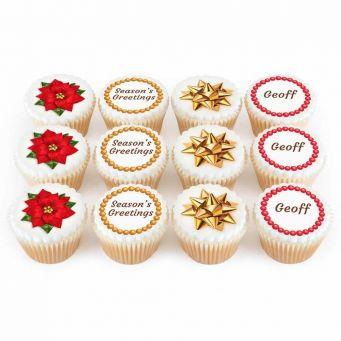12 Poinsettia Bow Cupcakes