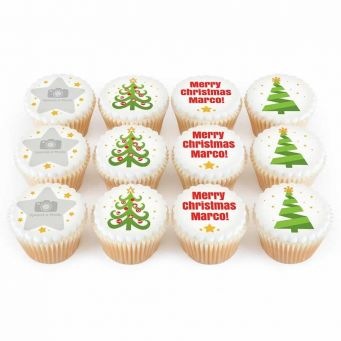 12 Christmas Tree Cupcakes