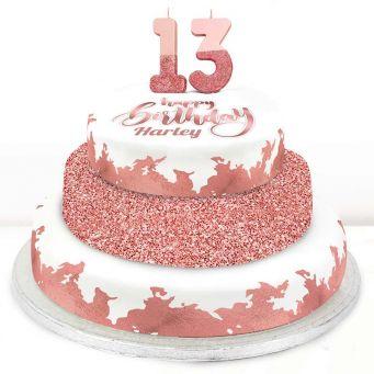 13th Birthday Rose Foil Cake