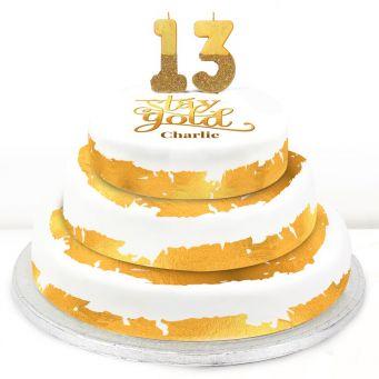 13th Birthday Gold Foil Cake