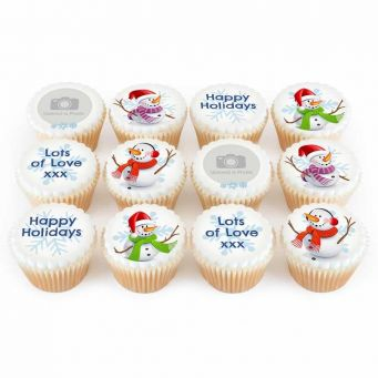 12 Snowmen Cupcakes