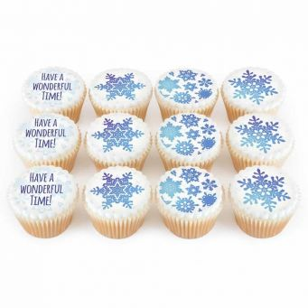 12 Snowflake Cupcakes