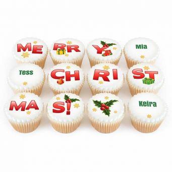 12 Merry Christmas Cupcakes