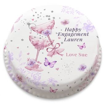 Pretty Engagement Cake