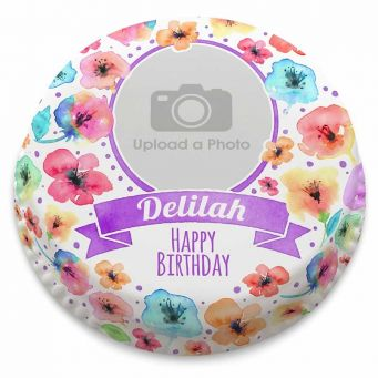 Watercolour Floral Photo Cake