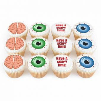 12 Brains & Eyeballs Cupcakes