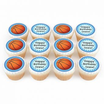 12 Basketball Cupcakes