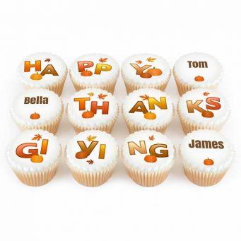 12 Happy Thanksgiving Cupcakes
