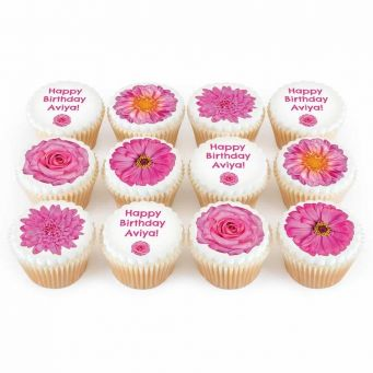 12 Pink Flower Cupcakes