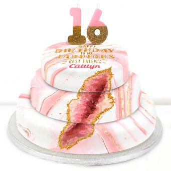 16th Birthday Pink Foil Cake