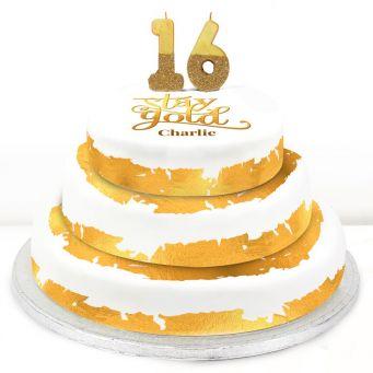 16th Birthday Gold Foil Cake