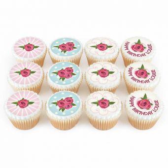 12 Vintage Rose Cupcakes