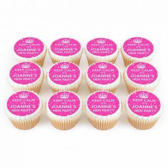 12 Hen Keep Calm Cupcakes