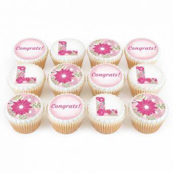 12 Floral L Cupcakes