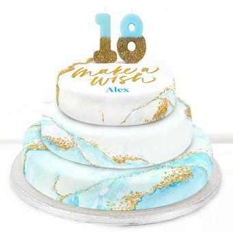 18th Birthday Blue Foil Cake