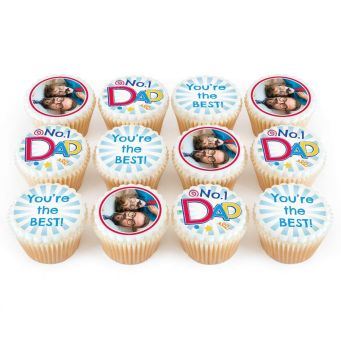12 No.1 Dad Photo Cupcakes