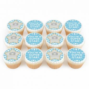 12 Blue Star Photo Cupcakes
