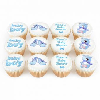 12 Blue Baby Shower Cupcakes
