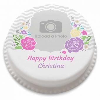 Modern Floral Photo Cake