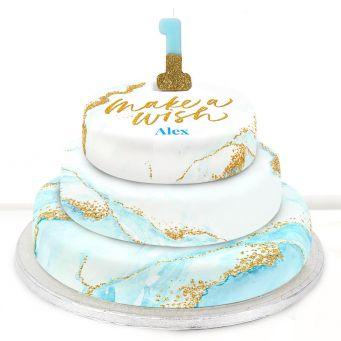 1st Birthday Blue Foil Cake