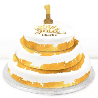 1st Birthday Gold Foil Cake
