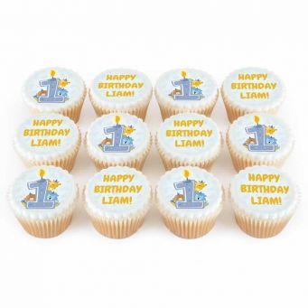 12 Blue First Birthday Cupcakes