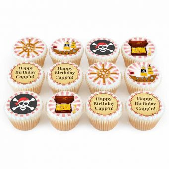 12 Pirate Themed Cupcakes