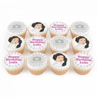 12 Space Princess Photo Cupcakes