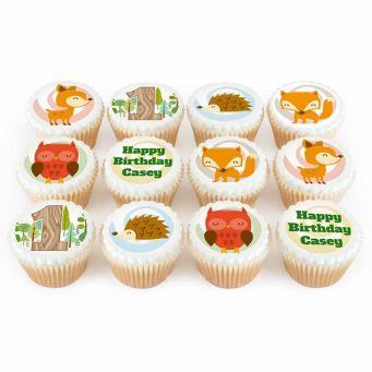 12 Woodlands Birthday Cupcakes