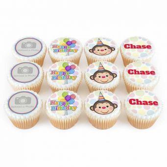 12 Birthday Monkey Cupcakes